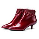 baratos Botas Femininas-Mulheres Curta/Ankle Couro Envernizado Outono Botas Salto Agulha Botas Curtas / Ankle Preto / Vinho
