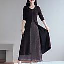 abordables Vestidos de Niña-Mujer Chic de Calle / Elegante Tallas Grandes Algodón Delgado Pantalones - Bloques Negro / Maxi / Noche