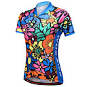 baratos Camisas Para Ciclismo-WOSAWE Mulheres Manga Curta Camisa para Ciclismo - Azul Reativo Floral / Botânico Moto Camisa / Roupas Para Esporte, Tiras Refletoras Com Transparência 100% Poliéster