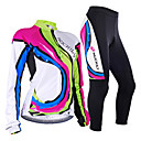 cheap Cycling Underwear & Base Layer-Nuckily Women's Long Sleeve Cycling Jersey with Tights - Camouflage Rainbow Bike Jersey Clothing Suit Windproof Breathable Anatomic Design Reflective Strips Back Pocket Sports Polyester Lycra Rainbow