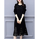 baratos Acessórios de Cabelo-Mulheres Básico Vestidinho Preto Vestido Médio