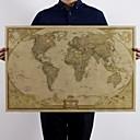 baratos Objetos de decoração-Grande mapa do mundo do vintage material de escritório detalhado antigo cartaz papel de carta retro papel matte kraft 28 * 18 polegada mapa do mundo