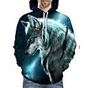 رخيصةأون طعم صيد الأسماك-رجالي قياس كبير فضفاض بنطلون - 3D ذئب, طباعة أزرق / مع قبعة / كم طويل / الخريف / الشتاء
