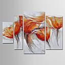 povoljno Apstraktno slikarstvo-Hang oslikana uljanim bojama Ručno oslikana - Cvjetni / Botanički Moderna Uključi Unutarnji okvir / Četiri plohe / Prošireni platno