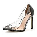 cheap Women's Heels-Women's Transparent Shoes PVC(Polyvinyl chloride) Spring &  Fall Sweet Heels Stiletto Heel Pointed Toe Rhinestone Black / Red / Almond