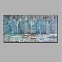 olcso Absztrakt festmények-Hang festett olajfestmény Kézzel festett - Absztrakt / Landscape Kortárs / Modern Tartalmazza belső keret / Nyújtott vászon