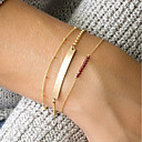 preiswerte Modische Armbänder-Damen Rot Kristall Gliederkette ID Armband - Natur, Modisch Armbänder Gold Für Alltag Ausgehen / 3 Stück