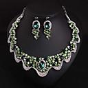 זול סט תכשיטים-בגדי ריקוד נשים ירוק אבן יקרה סטי תכשיטי כלה קלאסי גַל נשים מסוגנן פאר עיצוב מיוחד אינדיאני אבן נוצצת עגילים תכשיטים ירוק עבור חתונה Party