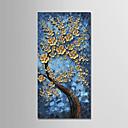זול ציורי שמן-ציור שמן צבוע-Hang מצויר ביד - פרחוני / בוטני מודרני בַּד