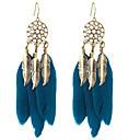 cheap Earrings-Women's Drop Earrings Hanging Earrings Vintage Style Cheap Ladies Native American Feather Earrings Jewelry Black / Dark Navy For Date Festival 1 Pair