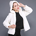 cheap Wedding Wraps-Long Sleeve Faux Fur Wedding / Party / Evening Women's Wrap With Zipper / Solid Coats / Jackets
