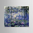 رخيصةأون رسومات زيتية-هانغ رسمت النفط الطلاء رسمت باليد - مشهور / الأزهار / النباتية الحديث تشمل الإطار الداخلي / امتدت قماش