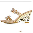 abordables Sandalias de Mujer-Mujer Zapatos Confort PU Verano Sandalias Tacón Cuña Dorado / Plateado