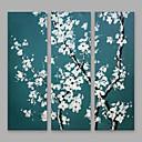 billige Abstrakte Malerier-Hang-Painted Oliemaleri Hånd malede - Blomstret / Botanisk Moderne Omfatter indre ramme / Tre Paneler / Stretched Canvas