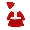 abordables Vestidos de Niña-Bebé Chica Básico Navidad Retazos Manga Larga Algodón Vestido Rojo