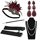 cheap Historical & Vintage Costumes-The Great Gatsby Vintage 1920s Roaring 20s Costume Women's Gloves Necklace Flapper Headband Head Jewelry Earrings Pearl Necklace Black / Red Vintage Cosplay Party Prom / Feather