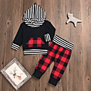 cheap Baby Boys' Clothing Sets-Baby Boys' Casual / Basic Christmas / Party / Holiday Black & Red Plaid Long Sleeve Regular Regular Cotton Clothing Set Black 2-3 Years(100cm) / Toddler