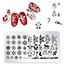 billige Neglestempling-1 pcs Stampplate Mal Romantisk serie Beste kvalitet Neglekunst Manikyr pedikyr Unikt design Jul / Daglig