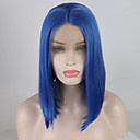 cheap Synthetic Lace Wigs-Synthetic Lace Front Wig Women's Straight / Natural Straight Blue Middle Part 180% Density Synthetic Hair 12-16 inch Adjustable / Heat Resistant / Elastic Blue Wig Short Lace Front Lake Blue