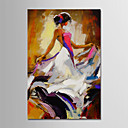 זול אומנות ממוסגרת-ציור שמן צבוע-Hang מצויר ביד - מופשט / אנשים מודרני כלול מסגרת פנימית / בד מתוח