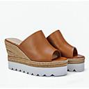 abordables Sandalias de Mujer-Mujer Zapatos Confort Cuero de Napa Primavera Sandalias Tacón Cuña Negro / Marrón