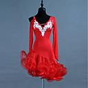 baratos Roupas de Dança Latina-Dança Latina Vestidos Mulheres Treino Elastano / Tule Cristal / Strass Manga Longa Alto Vestido
