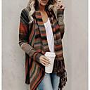 tanie Torby na ramię-Damskie Codzienny Moda miejska Frędzel / Pasek Prążki Długi rękaw Regularny Sweter rozpinany Jesień i zima Pomarańczowy / Szary / Jasnoszary M / L / XL