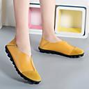 hesapli Kadın Babetleri-Kadın's Ayakkabı Deri İlkbahar yaz Günlük Mokasen & Bağcıksız Ayakkabılar Düz Taban Yuvarlak Uçlu Günlük için Sarı / Fuşya / Şarap / Zıt Renkli