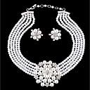 billige Mote Halskjede-Dame Lag-på-lag Smykkesett - Imitert Perle Blomst Stilfull, Unikt design Inkludere Dråpeøreringer Halskjede Hvit Til Daglig