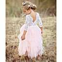 cheap Plant Growing Lights-Kids Girls' Basic Daily Solid Colored Lace / Layered Long Sleeve Cotton / Polyester Dress Red