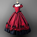 cheap Lolita Dresses-Gothic Victorian Costume Gothic Lolita Dress Women's Girls' Dress Party Costume Masquerade Red Vintage Cosplay Satin Short Sleeves Puff Balloon Floor Length Ball Gown Plus Size Customized