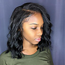 olcso Emberi hajból készült parókák-Emberi haj Csipke eleje Paróka Brazil haj Hullámos Paróka Bob frizura Rövid Bob 130% Haj denzitás Természetes Természetes hajszálvonal Fekete hölgyeknek Természetes Fekete Női Rövid Emberi hajból