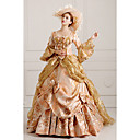 cheap Historical & Vintage Costumes-Rococo Victorian Costume Women's Dress Party Costume Masquerade Red / Golden Vintage Cosplay Lace Cotton Prom Long Sleeve Poet Sleeve Floor Length Long Length Ball Gown / Floral