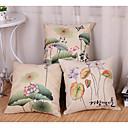 baratos Almofadas de Decoração-3 pçs Algodão / Linho Moderno / Contemporâneo / Fronha, Floral / Árvores / Folhas Inspirado da Natureza / Pastoril Estilo