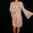 זול אקזוטי Dancewear-אקזוטי Dancewear חליפת גוף עם אבני חן מזויפות / תלבושות מועדון בגדי ריקוד נשים הצגה ספנדקס קריסטלים / אבנים נוצצות מעיל / / סרבל תינוקותבגד גוף