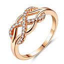 povoljno Modno prstenje-Žene Prsten Prsten obećanja Kubični Zirconia mali dijamant 1pc Zlato Umjetno drago kamenje Legura Geometric Shape dame Moda Elegantno Dar Večer stranka Jewelry X prsten beskraj Heart Lijep