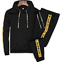cheap Mascaras-Men's Plus Size Long Sleeve Hoodie - Solid Colored Hooded Black XXL