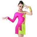 abordables Ropa de Baile para Niños-Baile Latino Vestidos Chica Entrenamiento / Rendimiento Elastán / Licra Cristales / Rhinestones Manga Larga Vestido