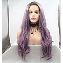cheap Synthetic Lace Wigs-Synthetic Lace Front Wig Women's Body Wave Black Layered Haircut 130% Density Synthetic Hair 26 inch Women Black / Purple Wig Short Lace Front Black / Purple Sylvia / Yes