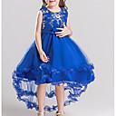 preiswerte Kleider für Mädchen-Kinder Mädchen Grundlegend Solide Langarm Baumwolle Polyester Kleid Marineblau