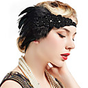cheap Historical & Vintage Costumes-The Great Gatsby Vintage 1920s Roaring 20s Costume Women's Flapper Headband Head Jewelry Black Vintage Cosplay Party Prom Sleeveless / Feather
