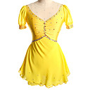 abordables Robe de Patinage-Robe de Patinage Artistique Femme Fille Patinage Robes Jaune Rouge Spandex Compétition Tenue de Patinage Couleur Pleine Manches Courtes Patinage sur glace Patinage Artistique