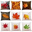 hesapli Yastık Kümeleri-9 adet Linen Yastık Kılıfı, Ağaçlar / Yapraklar Yaprak Resim Doğadan Esinlenmiş Geleneksel / Klasik