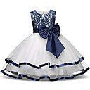 cheap Girls' Dresses-Kids / Toddler Girls' Active / Sweet Daily / Holiday Color Block Bow / Pleated / Mesh Sleeveless Midi Polyester Dress Navy Blue