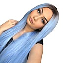 cheap Synthetic Lace Wigs-Synthetic Lace Front Wig / Ombre Straight Style Middle Part Glueless / Lace Front Wig Ombre Black / Blue Synthetic Hair 22-26 inch Women's Heat Resistant / Women / Ombre Hair Ombre Wig Long Natural