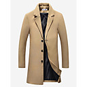 cheap Wedding Wraps-Men's Daily Vintage / Basic Fall / Winter Plus Size Long Coat, Solid Colored Notch Lapel Long Sleeve Cotton / Polyester Wine / Khaki / Light gray XXXL / XXXXL / XXXXXL