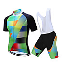 cheap Cycling Jersey & Shorts / Pants Sets-TELEYI Men's Short Sleeve Cycling Jersey with Bib Shorts - White Black Bike Clothing Suit Quick Dry Sports Coolmax® Yarn Dyed Mountain Bike MTB Road Bike Cycling Clothing Apparel / Stretchy
