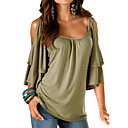 cheap Sexy Uniforms-Women's Going out Loose T-shirt - Solid Colored / Summer / Ruffle / Cut Out / Sexy