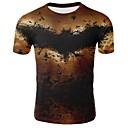 levne Pánské košile-Pánské - 3D Základní Větší velikosti Tričko, Tisk Bavlna Kulatý Hnědá XXL / Krátký rukáv