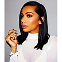 cheap Human Hair Wigs-Remy Human Hair Lace Front Wig Side Part Kardashian style Brazilian Hair Yaki Straight Wig 130% 150% 180% Density 8-24 inch Natural Best Quality Hot Sale Thick with Clip Natural Women's Medium Length